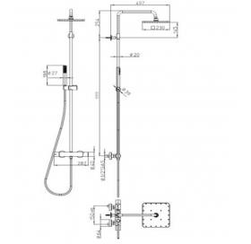 Душевая система Bossini Cosmo (L10103000073008) Black Matte с термостатом