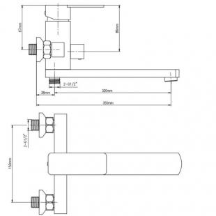 Смеситель для ванны Cosh (CRM)/S- 10-005AN NEW