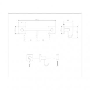 Вешалка для полотенец на 3 крючка Cosh (CRM)S-80-910B3