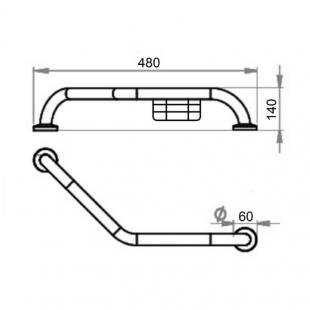 Поручень для ванны с мыльницей Cosh (CRM)S-82-105