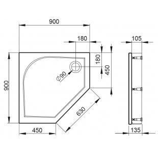 Душевой поддон Devit Universal 90х90 FTR4209