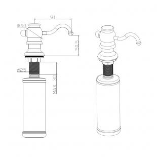 Дозатор жидкого мыла Fabiano FAS-D 30 Brass Antique