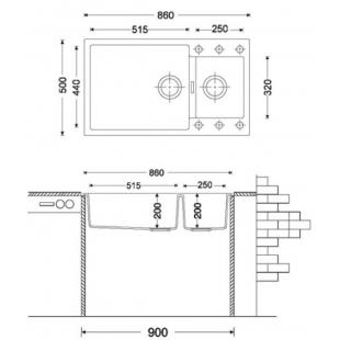 Кухонная мойка Fabiano Quadro 86x50x15 Beige