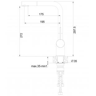 Смеситель кухонный Fabiano FKM 31.12 SS Antracit