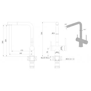 Смеситель кухонный Fabiano FKM 31.14 SS Inox