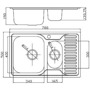 Кухонная мойка Fabiano 78x50x15 Microdecor