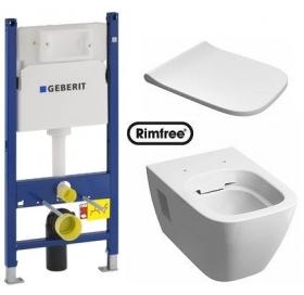 Комплект: MODO Rimfree унитаз подвесной, инсталляция Geberit Duofix 3в1, сидение Duroplast soft-clos