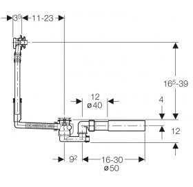 Сифон для ванны Geberit с фановым отводом, d52 150.501.00.1