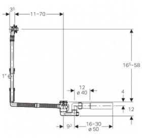 Сифон для ванны Geberit с фановым отводом, d52 150.505.00.1
