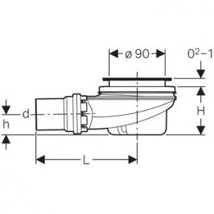 Сифон Geberit для душевого поддона d90, с крышкой, хром глянец 150.551.21.1