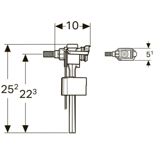 """Впускной клапан Geberit Type 333, подвод воды сбоку, 3/8"""" и 1/2"""", нипель из латуни 136.724"""