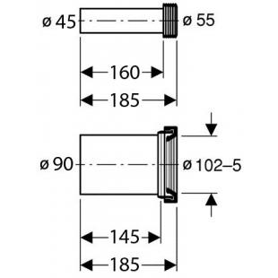 Соединительный комплект из ПНД Geberit, длина 18,5/30 см 152.426.46.1