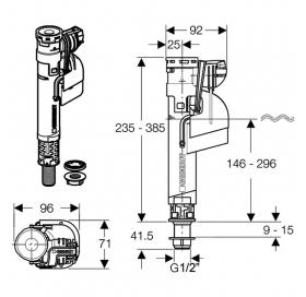 "Впускной клапан Geberit 281.208.00.1 Impuls360 1/2"", нижний подвод"