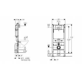 Инсталляционная система Geberit DUOFIX для унитаза с кнопкой DELTA 21 хром и креплением (458.112.21.