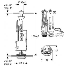 Сливной клапан Geberit Type 240, двойной смыв, хром глянцевый 136.909.21.2