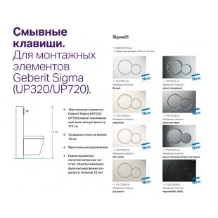 Кнопка смыва Geberit SIGMA 01, пластик хром глянцевый