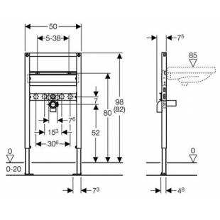 Geberit Duofix монтажный элемент для подвесного умывальника, высота 98/82 см 111.490.00.1