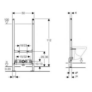 Монтажный элемент Geberit Duofix для биде, 112 см, универсальный 111.534.00.1