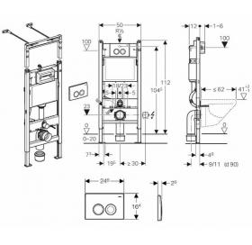 Инсталляционная система Geberit Duofix для унитаза, c клавишой смыва Дельта 21, 12 см (UP100), Платт