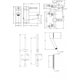 Набор смесителей для ванны со штангой GENEBRE Tau, 04TA1V17RO