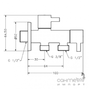 Двойной угловой вентиль GENEBRE, 3109 04