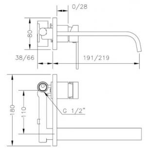 Смеситель для раковины GENEBRE Kenjo-22 встраиваемый носик 22 см, 63132 26 45 66