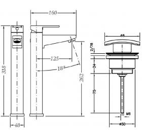 Смеситель для раковины высокий c донным клапаном GENEBRE Kenjo, 63136 26 45 67