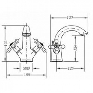 Двухвентильный смеситель для раковины GENEBRE NRC, 68506 09 45 66