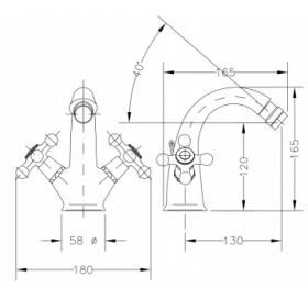 Двухвентильный смеситель для биде GENEBRE NRC, 68516 09 45 66