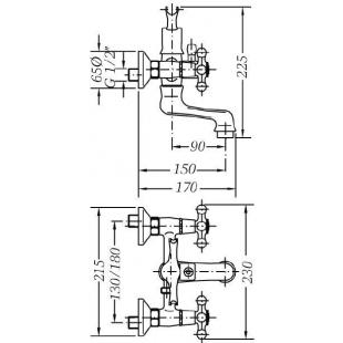 Двухвентильный смеситель для ванны GENEBRE NRC с душевым гарнитуром, 68526 09 43 66
