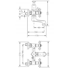 Двухвентильный смеситель для ванны GENEBRE NRC с душевым гарнитуром, 68526 09 45 66
