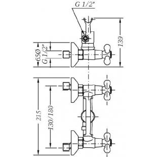 Двухвентильный смеситель для душа GENEBRE NRC c душевым гарнитуром, 68531 09 43 66