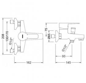 Смеситель для ванны GENEBRE K8 с душевым гарнитуром, 60100 28 45 66