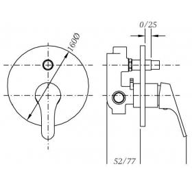 Смеситель для душа GENEBRE Ge2 встраеваемый с переключателем, 61116 22 45 66