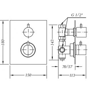 Смеситель для душа GENEBRE TAU 3way термостат скрытый монтаж на 3 зоны, 64111 14 45 67
