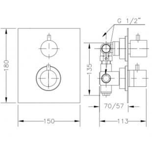 Смеситель для душа GENEBRE TAU 2way термостат скрытый монтаж на 2 зоны, 64114 14 45 67