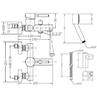 Смеситель  для ванны GENEBRE Tau с душевым гарнитуром, 65100 18 45 66