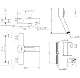 Смеситель  для ванны GENEBRE Tau2 с душевым гарнитуром, 65100 29 45 66