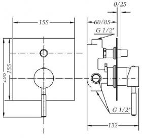 Смеситель для ванны и душа GENEBRE Tau встраеваемый с переключателем, 65116 18 45 66