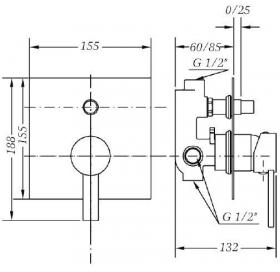 Смеситель для ванны и душа GENEBRE Tau2 встраеваемый с переключателем, 65116 29 45 66