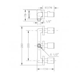 Смеситель для ванны и душа GENEBRE KALO скрытый монтаж с переключателем, 68116 07 45 66