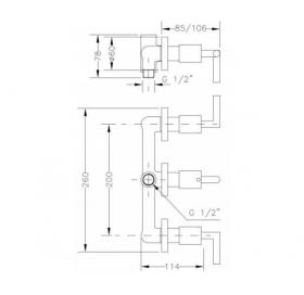 Смеситель для ванны и душа GENEBRE IXO скрытый монтаж с переключателем, 68116 12 45 66
