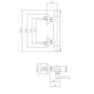 Смеситель для душа GENEBRE Tau термостат, 67112 14 45 67