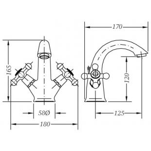 Двухвентильный смеситель для раковины GENEBRE NRC, 68506 09 43 66