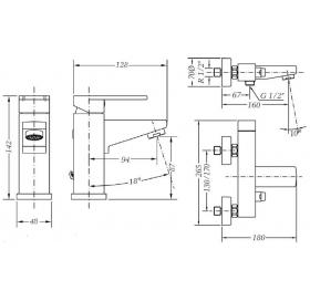 Набор смесителей для раковины и ванны GENEBRE Kenjo 1+1, 02KE-bath