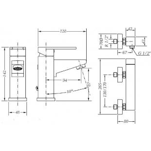 Набор смесителей для раковины и душа GENEBRE Kenjo 1+1, 02KE-shower