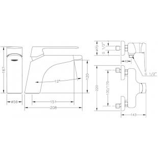 Набор смесителей для раковины и душа GENEBRE Kode 1+1, 02KO-shower