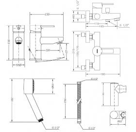 Набор смесителей для ванны без штанги GENEBRE Tau2, 03TA2-bath