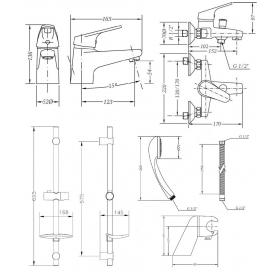 Набор смесителей для ванны со штангой GENEBRE Ge2, 04GE2V17RO