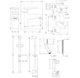 Набор смесителей для ванны со штангой GENEBRE Klip, 04KLV17RO